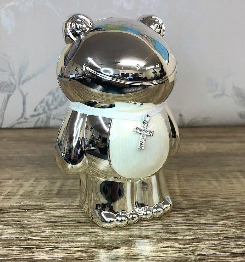 Silver Plated Cream Frog Money Box ~ Christening New Baby Gift